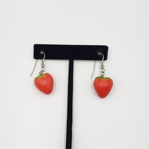 Vtg Strawberry Earrings Cottagecore French Hook